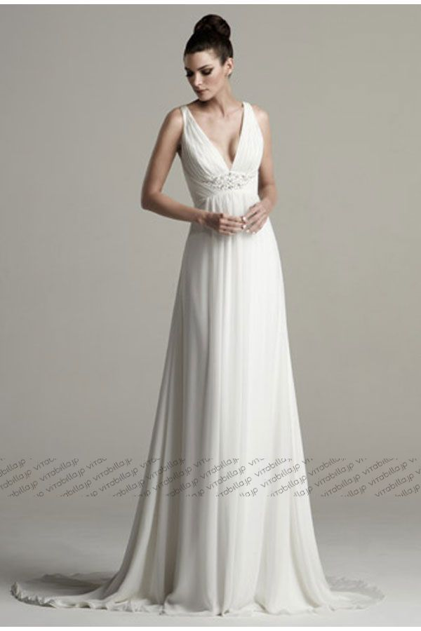 エンパイア ウェディングドレス Vネック コート サテン シフォン ホワイト 023561027001