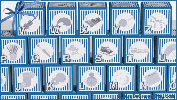 Digital baby ABC blocks Blue Printable alphabet blocks by ArcDeGra