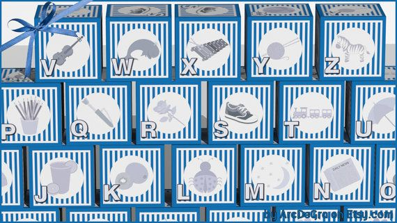 Digital baby ABC blocks Blue Printable alphabet blocks by ArcDeGra