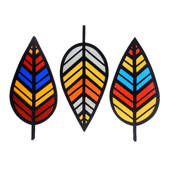 Chevron Leaf - Stained Glass Decoration
