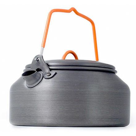 Made of Halulite, a hard anodized alloy as light as titanium, the GSI Tea Kettle HAE conducts heat better than your dented WWII era tea kettle so you can use less fuel to boil water.