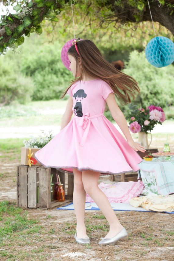 pink girls dress twirl pink dress for toddlers by TAPUmeyou