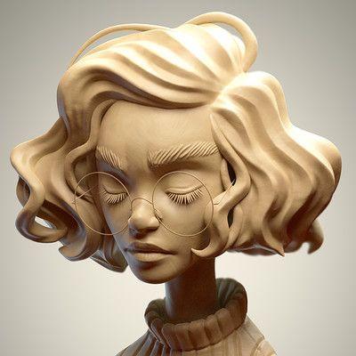 SculptJanuary 17 - Day 03: Woman Portrait, Julien Kaspar on ArtStation at https://www.artstation.com/artwork/znEJZ