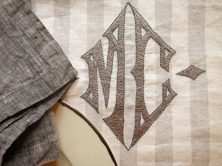 MarinaC - the gothic monogram one of our most popular embroideries #marinacmilano #alwayschic