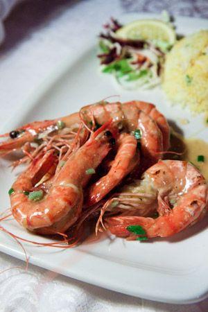 Crevettes Géantes Sautées Au Beurre D'ail Et Vin Blanc  @ Domaine Anna - Best Restaurant in Flic en Flac, ile Maurice !: White Wine, Restaurant