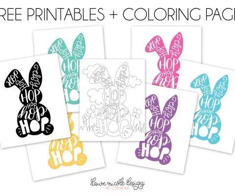 Typographic Easter Bunny Free Printables + Coloring Page. Grab the free hand-illustrated coloring page or the printable (six color options)!
