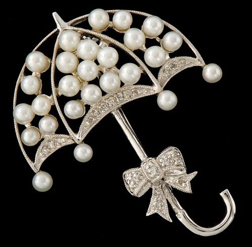 Pearl and Diamond Umbrella Brooch
