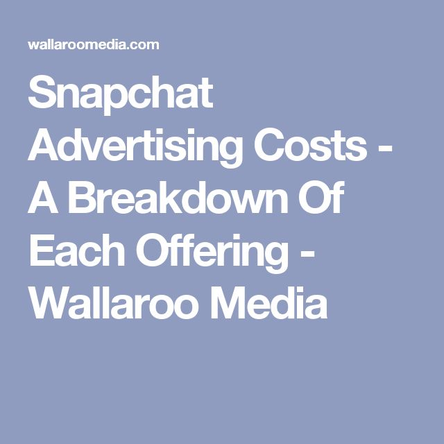 Snapchat Advertising Costs - A Breakdown Of Each Offering - Wallaroo Media