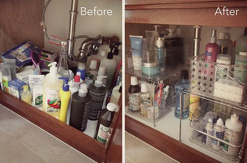 Under sink storage -- shelves & buckets