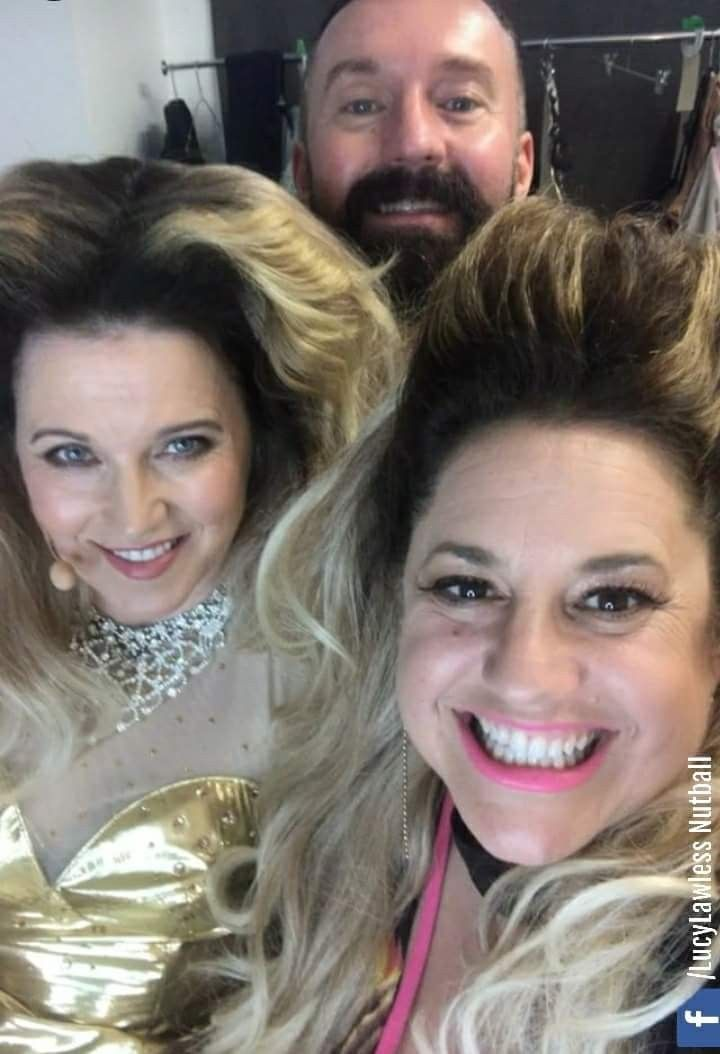 Lucy Lawless and Marissa Jaret Winokur behind the scenes of Pleasuredome - The Musical