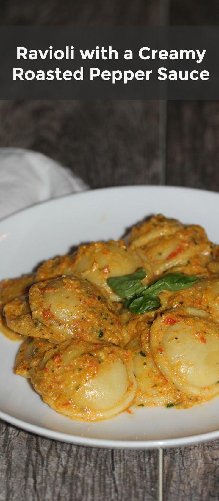 Ravioli with Creamy Roasted Pepper Sauce