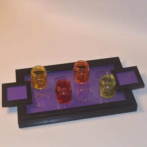 Wooden Shot Serving Tray or Trays, Purple - FOLKBRIDGE.COM | Buy Gifts. Indian Handicrafts. Home Decorations.
