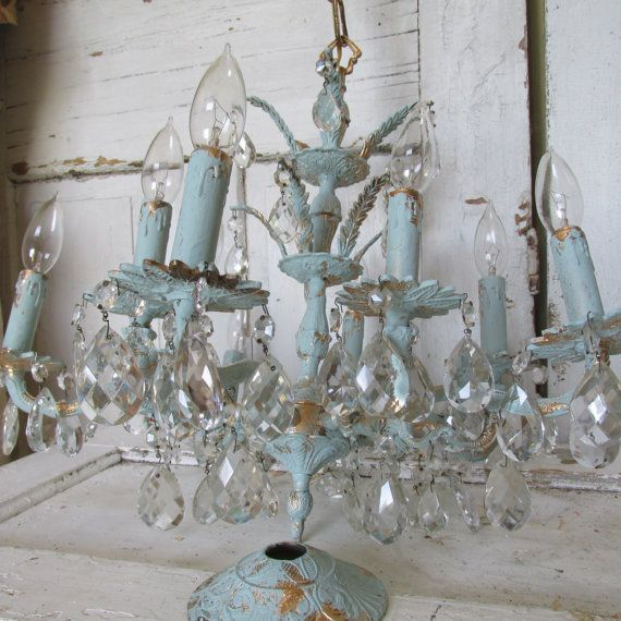 Buy Large brass chandelier 10 arm Shabby elegant chic hand painted blue with gold accent 71 crystals ornate home decor anita spero by anitasperodesign. Explore more products on http://anitasperodesign.etsy.com