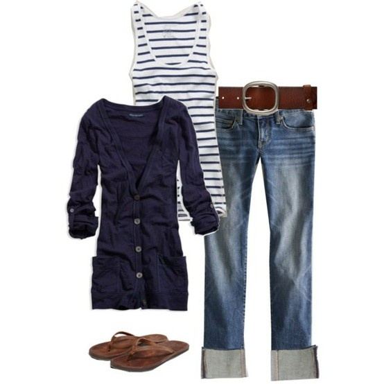 Casual OutfitCasual Style, Casual Outfit, Summer Outfit, Navy Stripes, Flip Flops, Summer Night, Spring Outfit, Summer Clothing, My Style