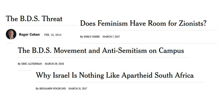 NYT's BDS Debate Excludes BDS Proponents The last opinion column on the topic by a BDS supporter to appear in the New York Times was in January 2014. Since then, the Times has published seven opinion columns that took a clear position on BDS, all of them in opposition.
