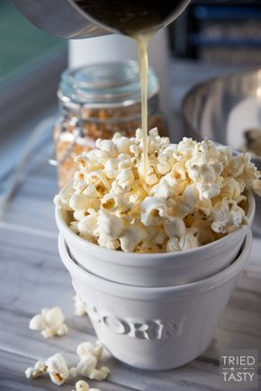 Honey Butter Popcorn // The kids will flip over this delicious popcorn recipe! You only need five ingredients - and I can almost guarantee you have everything on hand already. Plus, there's no microwave involved - say goodbye to yucky chemicals! | Tried and Tasty