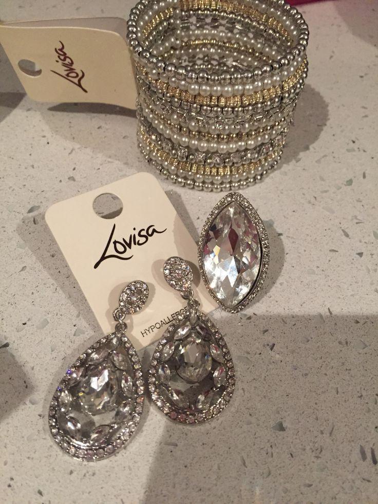 Lovisa rhinestone earrings tear drop ring costume jewellery pearl and sparkle cuff