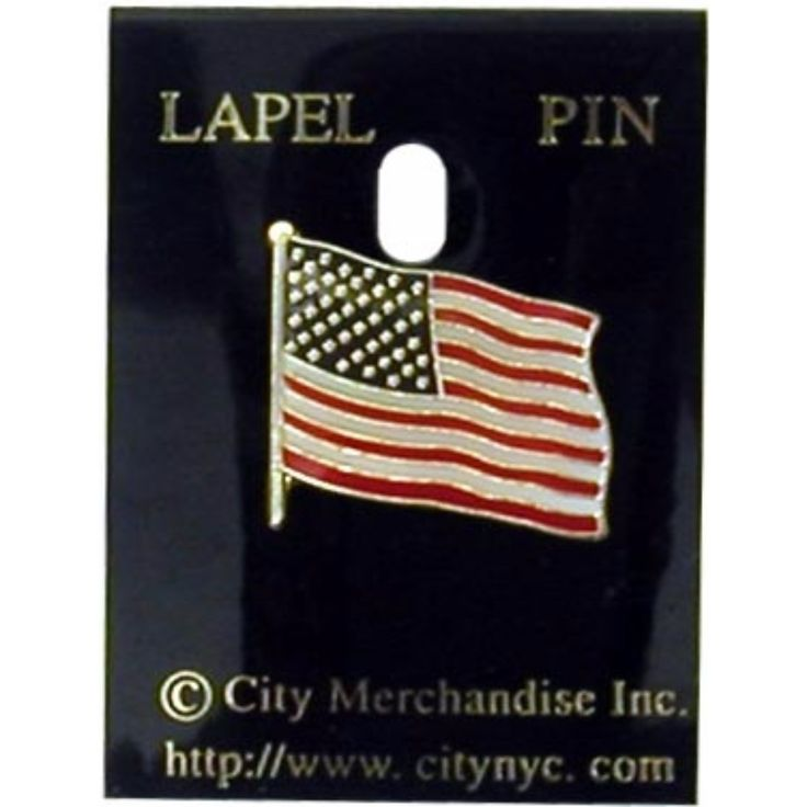 American Flag Lapel Pin with Holder