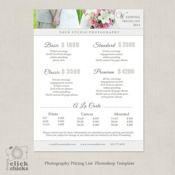 Wedding Rates Photography: Wedding Photography Package Pricing List Template