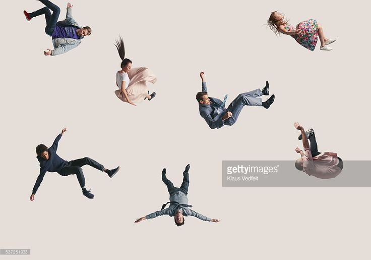 Stock Photo : Group of people in the air, falling down