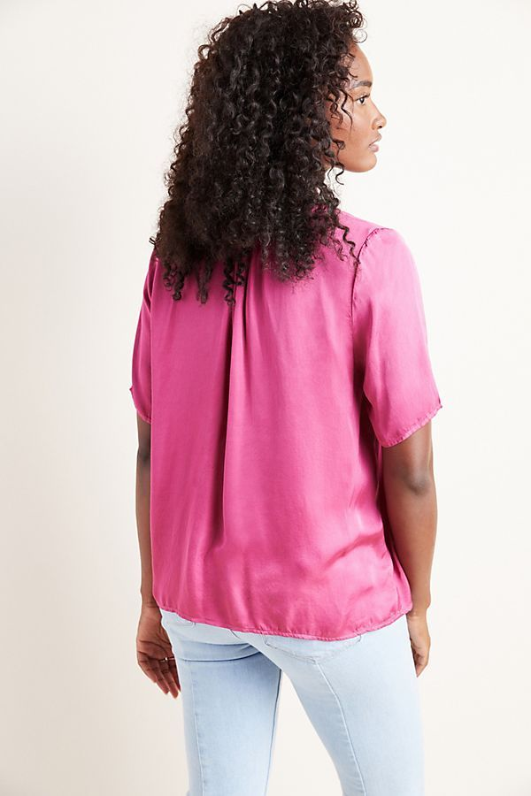 Tita Satin Scoop Neck Tee by Velvet Graham & Spencer in Pink Size: L, Women's Tees at Anthropologie