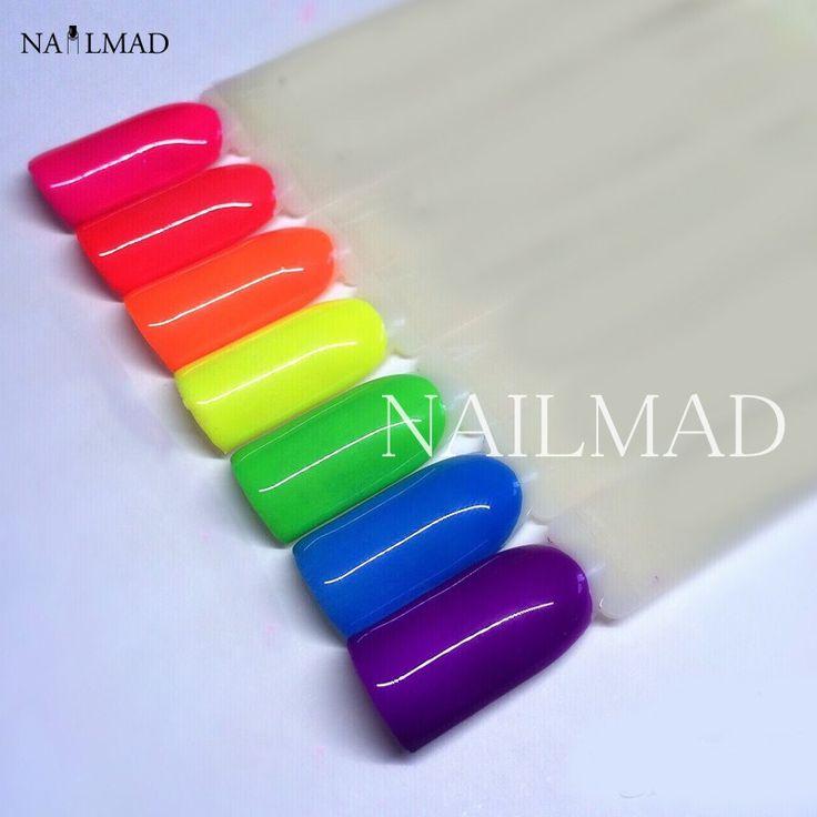 6 colores de Neón Polvo de Pigmento Ombre Pigmentos Pigmentos de Uñas Gradiente Gradiente de Polvo de Neón de Neón Polvo