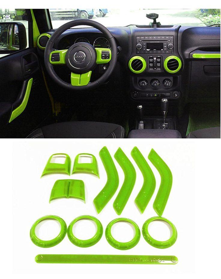 E-cowlboy Full Set Interior Decoration Trim Kit--Steering Wheel Trim, Center Console Air Outlet Trim, Door Handle Cover Inner, Passenger Seat Handle Trim For Jeep Wrangler 2011-2016 4-door (Green)