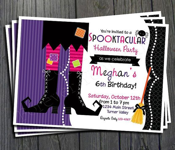 Halloween Birthday Party Invitation by ForeverYourPrints on Etsy, $15.00 @Jennifer Collins