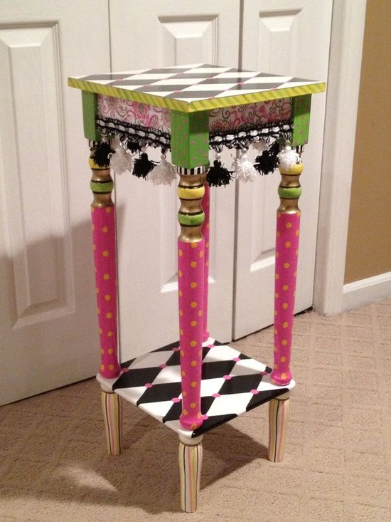 Hand painted accent side table black and white harlequin for Hand painted furniture