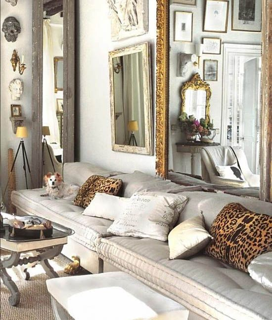 Marcus Design: {leopard pillows, mirrors, wall decor ... }  & I just love these sofa cushions!