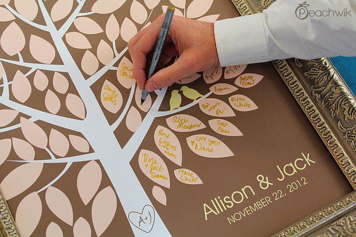 Wedding Guest Book Alternative - The Wishwik Tree - A Peachwik Interactive Art Print - 100 guest sign in. $38.00, via Etsy.