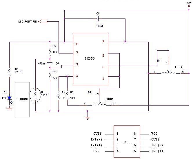 Heartbeat Sensor Circuit Daigram Working With 8051 Sensor Circuit Electrical Projects