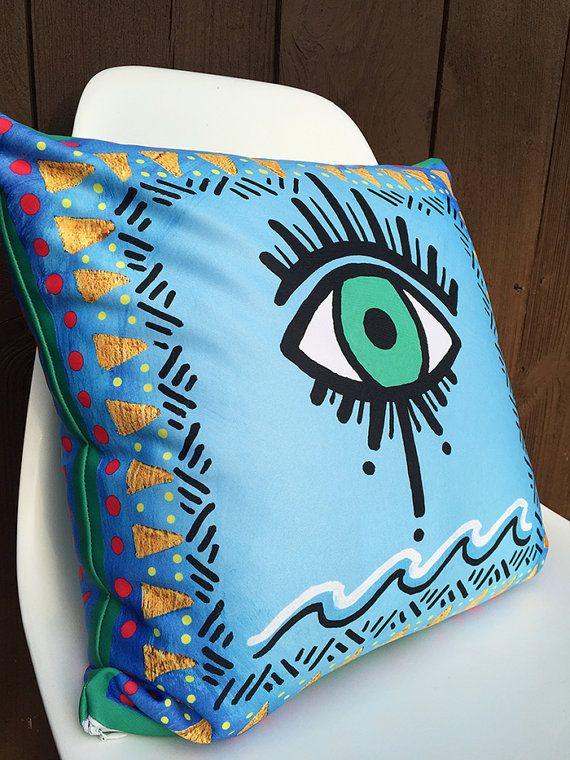 Evil Eye Pillow- Throw Pillow, Decorative Pillow Cushion, Designer Pillow, All seeing Eye, Accent Pillow, Devil's Eye, Soft Pillow