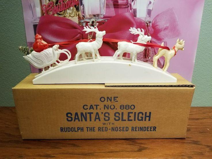 Rare Vintage 1940's Celluloid Christmas Rudolph Red Nose Reindeer Santa Sleigh
