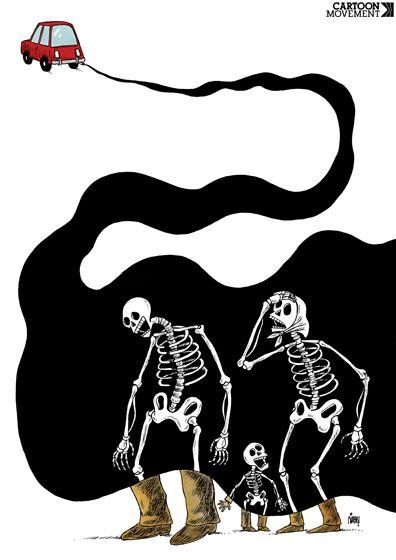 Air #pollution kills more people than AIDS and malaria. Today's #cartoon by Payam Boromand: