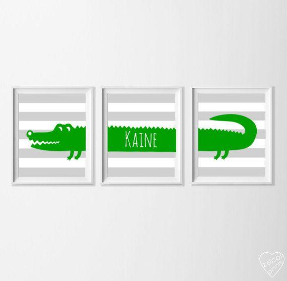 Personalized Alligator Nursery Art Safari Alligator Nursery
