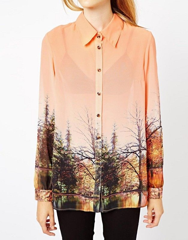 Orange Lapel Long Sleeve Landscape Print Blouse