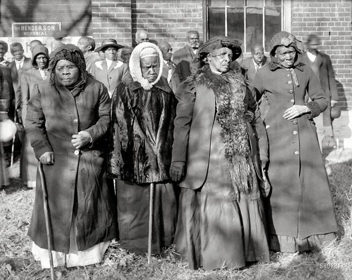 "This photo was taken in Washington, D.C. in 1916 at the ""Convention of Former Slaves.""   Pictured from left to right: Annie Parram, age 104; Anna Angales, age 105; Elizabeth Berkeley, 125; Sadie Thompson, 110."