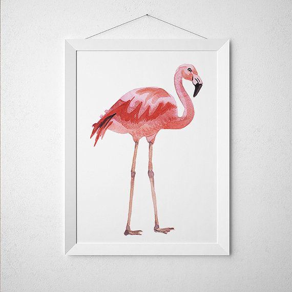 Beautiful Bird art for your home and office. Lovely Flamingo print. Nice hand drawn Watercolor print. Cute Nursery poster. BUY 1 GET 1 FREE - use