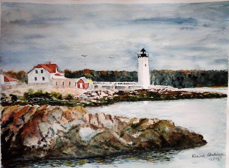 Original Painting Watercolor Nautical Painting Seascape Art Lighthouse  http://etsy.me/2oiW9QP #art #originalpainting #Lighthouse #watercolor #nautical