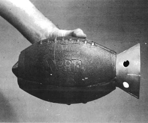 Anti-armor hand grenade – a shaped charge, packed in a hollowed-out Nerf football, 1973