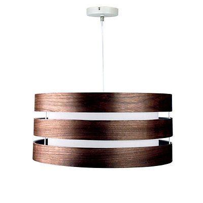 Natural Timber Pendant Light - Chocolate - with Energy Saving Globe
