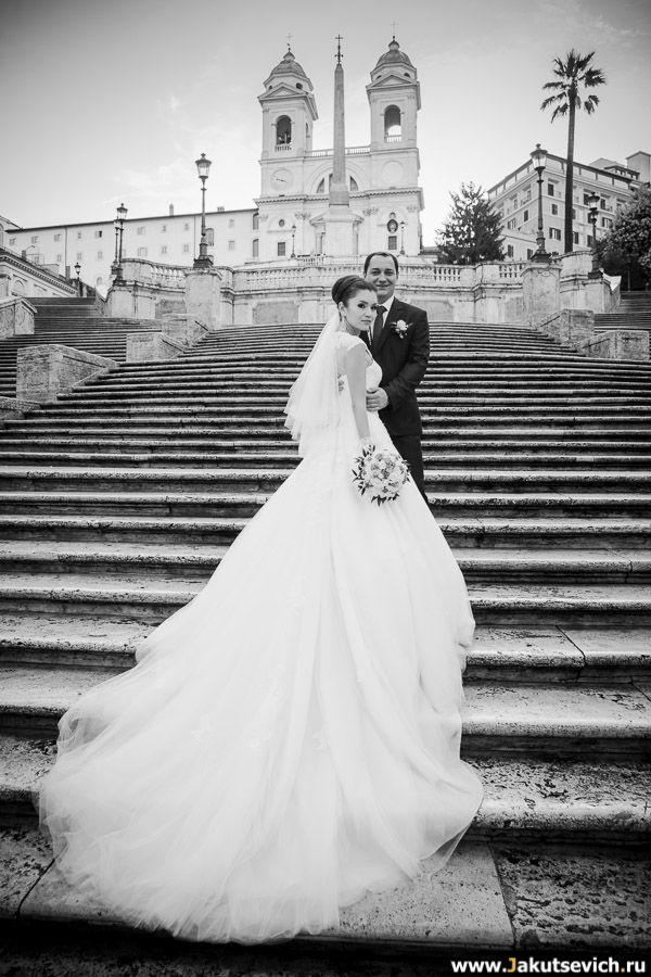 Испанская лестница свадебная фотосессия -   фотограф в Италии Артур Якуцевич www.jakutsevich.ru