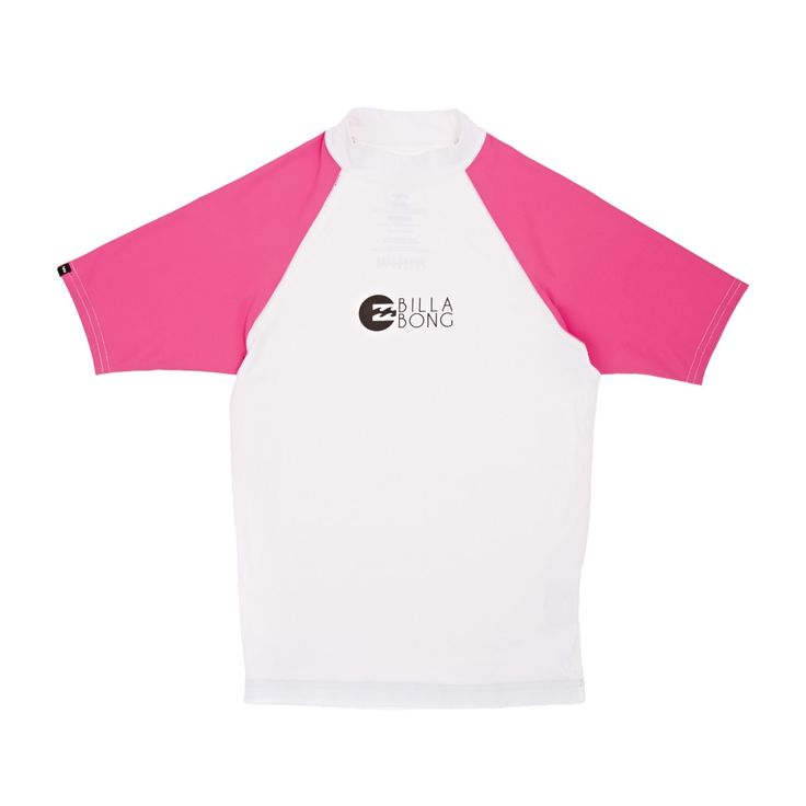 Billabong - Billabong Girls Logo In Short Sleeve Rash Vest - Magenta