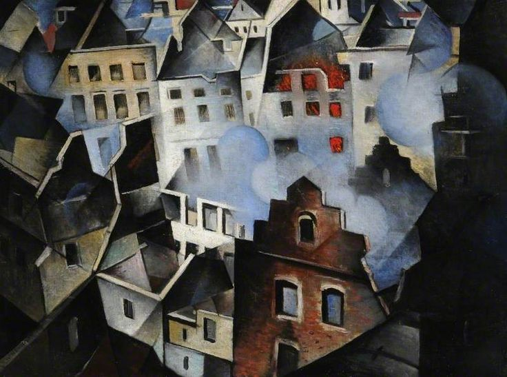 Ypres after the First Bombardment 1916. Christopher Nevinson (1889-1946) was a British figure and landscape painter, etcher and lithographer. . Gertler was, for a time, his closest friend and influence, and they formed for a short while a group known as the Neo-Primitives, being deeply influenced by the art of the early Renaissance. However, Gertler and Nevinson subsequently fell out when they both fell in love with Carrington.