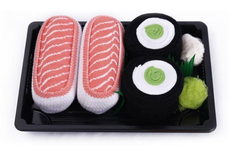 Sushi Socks Box - 2 pary łosoś, maki ogórek w Sushi Socks Box na DaWanda.com