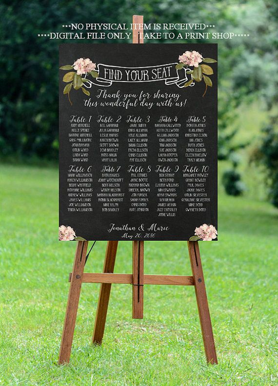 wedding seating chart printable wedding by OurFriendsEclectic
