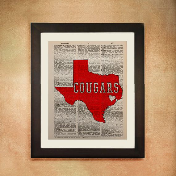 An outline of the state of Texas with COUGARS emblazoned on it, in the exact scarlet red and white colors of the University of Houston, with a