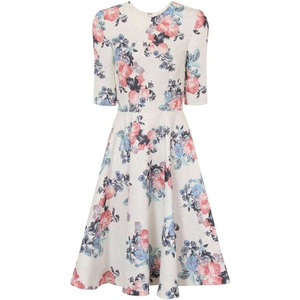 Chi Chi London Floral Print Midi Skater Dress ($79) ❤ liked on Polyvore featuring dresses, cream, women, floral midi dress, white skater skirt, skater dress, circle skirts and white circle skirt
