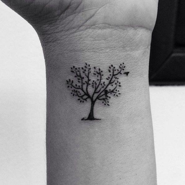 Small Tree Tattoo on Wrist by Cesar Paradiso